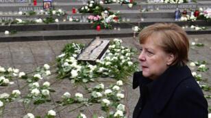 Angela Merkel lors des commémorations de l'attentat de Berlin, le 19 décembre 2017.