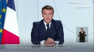 French President Emmanuel Macron announces the new lockdown measures in a televised address from the Elysée Palace.