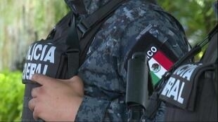 A screen grab of officers from Mexico's federal police.