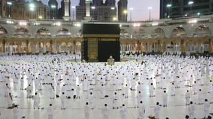 Socially-distanced worshippers in the Grand mosque complex in the Saudi city of Mecca on Tuesday