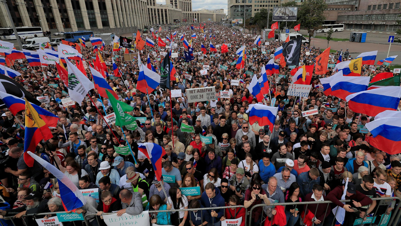 Ciudadanos protestaron a favor de los candidatos independientes y opositores que fueron vetados por la Comisión Electoral de Moscú. 20 de julio de 2019.