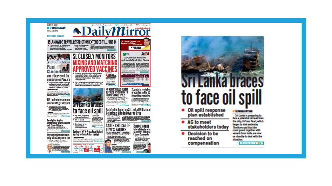 Naufrage du porte-conteneurs X-Press Pearl au large du Sri Lanka