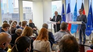 France's Foreign Minister Jean-Yves Le Drian (L) and Germany's Foreign Minister Heiko Maas speak to reporters at the French Mission to the United Nations in New York on April 2, 2019