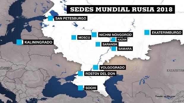 Las sedes del Mundial de Fútbol Rusia 2018