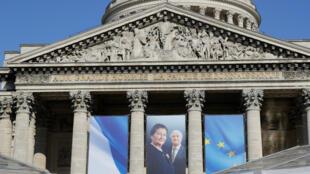 """صورة سيمون فاي وزوجها أنطوان فاي على مبنى """"البانتيون"""" (مقبرة العظماء) في باريس"""