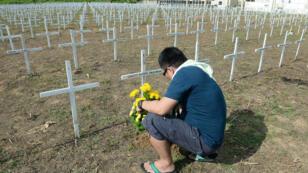 Un homme dépose des fleurs sur une tombe dans une fosse commune pour les victimes du typhon Haiyan, à Tacloban, le 7 novembre.