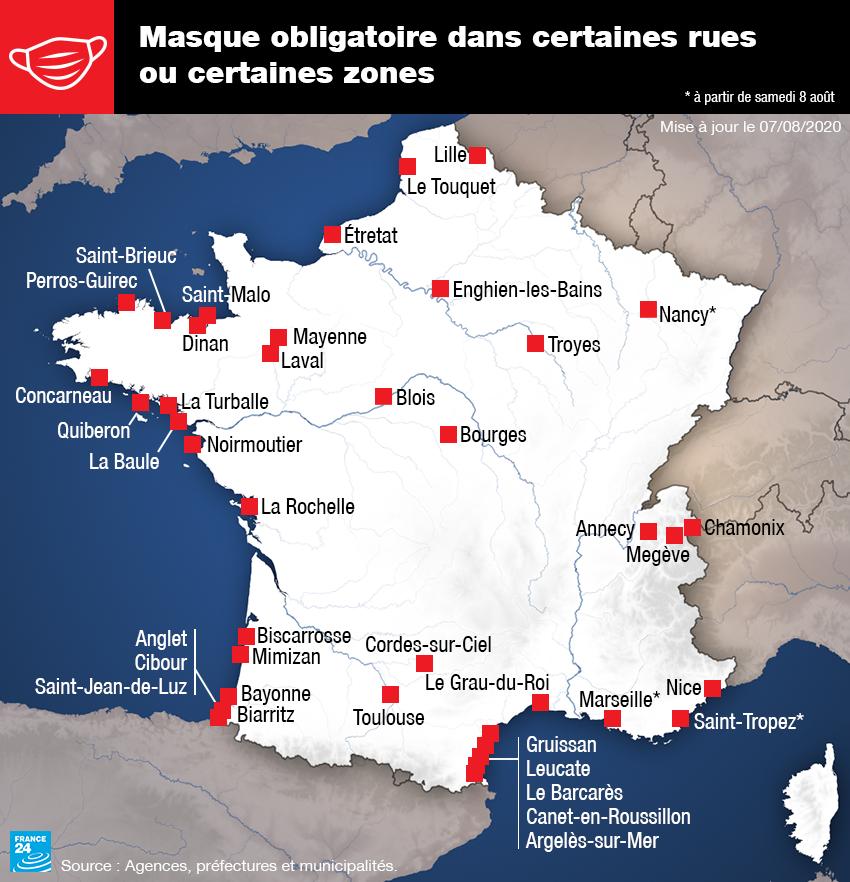 Les villes françaises dans lesquelles le port du masque est obligatoire en extérieur dans certaines rues, au 7 août 2020..