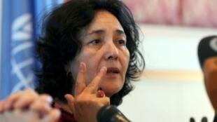 ليلى زروقي خلال مؤتمر صحافي في صنعاء في 28 ت2/نوفمبر 2012