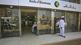 This picture taken on October 16, 2019, shows a view from the outside of a branch of the Bank of Khartoum in the Sudanese capital.