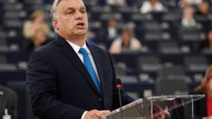 Viktor Orban lors de son discours prononcé au Parlement européen, le 11 septembre, à Strasbourg.