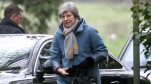 La primera ministra Theresa May llega a una iglesia cerca de High Wycombe, el 7 de abril de 2019.