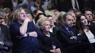 Depardieu lors d'un meeting de soutien à Nicolas Sarkozy en mars 2012