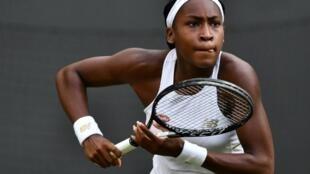 Cori Gauff lors de sa victoire sur Venus Williams au premier tour de Wimbledon le 1er juillet 2019