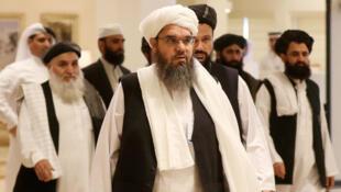 ممثلون من حركة طالبان في قطر خلال مشاركتهم في المفاوضات مع الأمريكيين في 2019