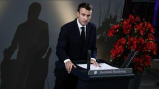 El presidente francés, Emmanuel Macron, durante la ceremonia conmemorativa en el Parlamento de Alemania con motivo del Día de Duelo por las Víctimas de la Guerra. Berlín, Alemania, el 18 de noviembre de 2018.
