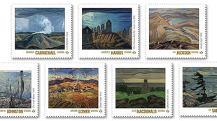 This undated handout illustration image shows stamps featuring striking landscapes, from a collection marking the centennial of Canada's most influential school of artists
