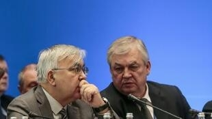 "Russia's Syria negotiator Aleksandr Lavrentyev (R, pictured December 2017) said the talks over the constitutional committee were ""complex"" but ""moving forward"""