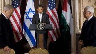 Benjamin Netanyahou, Barack Obama et Mahmoud Abbas en 2009