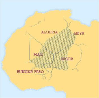 Répartition des Touareg dans le Sahel