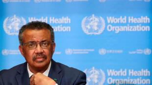 المدير العام لمنظمة الصحة العالمية أثناء مؤتمر صحفي عن فيروس كورونا الجديد في جنيف، سويسرا 6 فبراير/ شباط 2020.