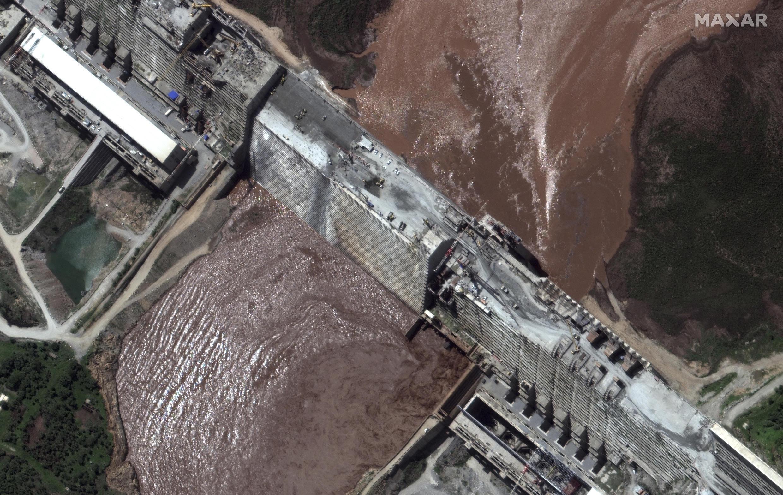 Vue aérienne du barrage éthiopien sur le Nil.