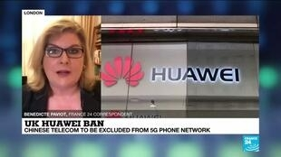 2020-07-14 17:09 Chinese telecom Huawei to be excluded from UK 5G phone network