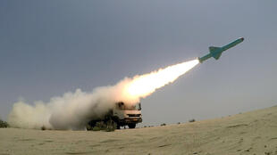 An Iranian locally made cruise missile is fired during war games in the northern Indian Ocean on June 17, 2020.