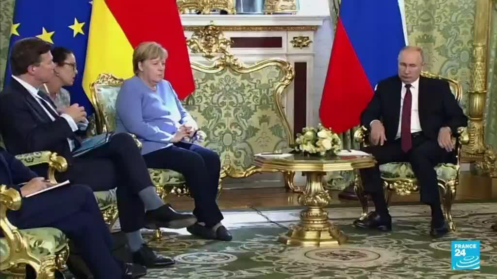 2021-08-20 22:03 La canciller alemana Angela Merkel y el presidente ruso Vladimir Putin se reunieron en Moscú