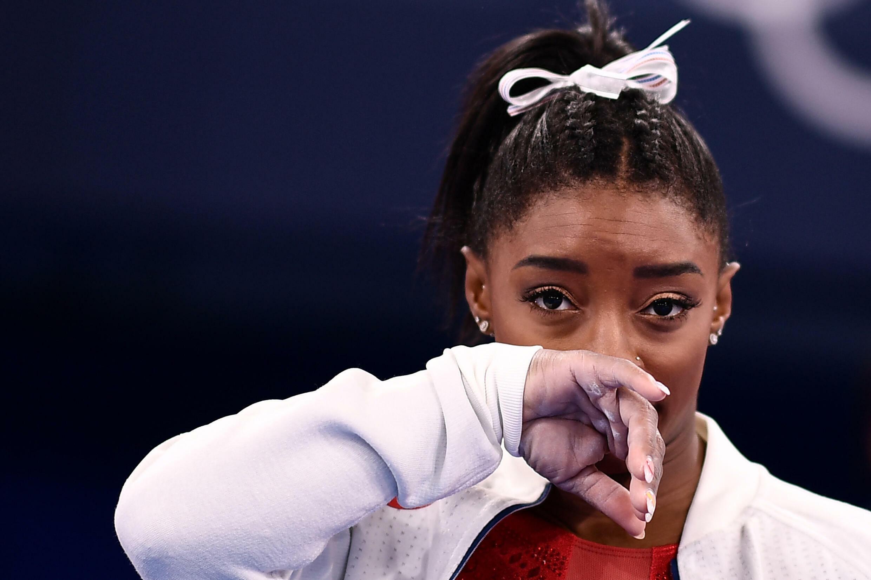 La gymnaste américaine Simone Biles à Tokyo, le 27 juillet 2021, juste avant son retrait de l'épreuve de par équipes