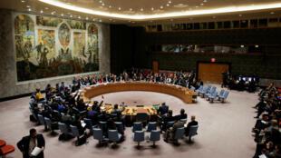 Los miembros del Consejo de Seguridad de las Naciones Unidas votan por el cese al fuego en Guta, Siria, el 24 de febrero de 2018.