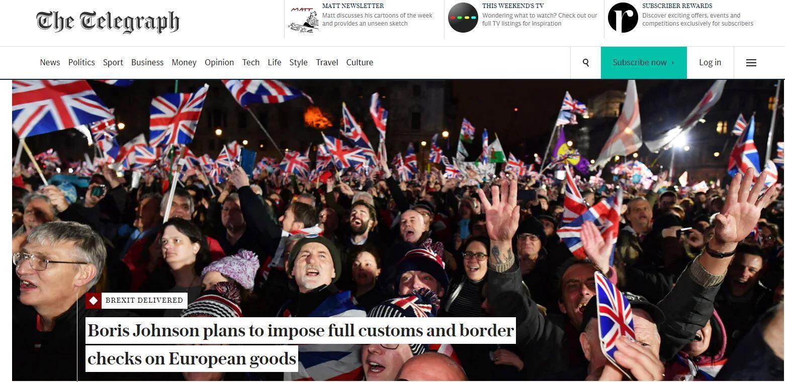 صورة ملتقطة من نسخة صحيفة تيلغراف ليوم السبت 01 فبراير/ شباط 2020