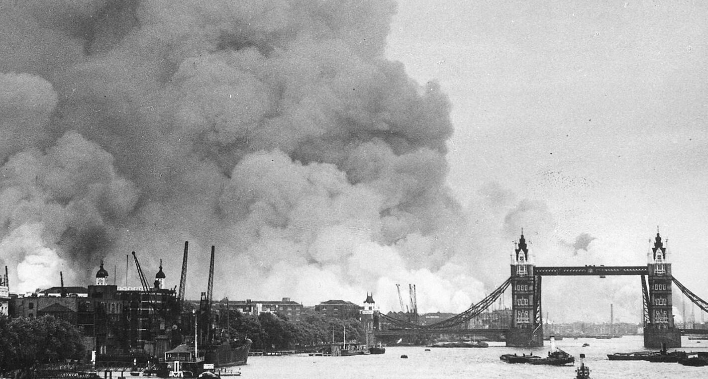Smoke rising from fires in the London docks near Tower Bridge, September 7, 1940.