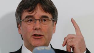 Carles Puigdemont lors de son intervention devant la presse à Berlin, le 12 février.