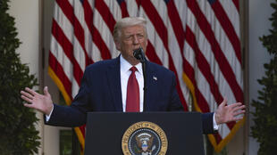Donald Trump stood at the presidential podium in the White House Rose Garden on on July 14, 2020 and unleashed a torrent of criticism on his Democratic opponent, turning the press conference into a campaign event