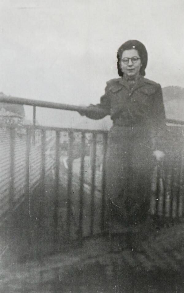 Anne-Marie Trégouët in her AFAT uniform. She was one of the first women to wear pants in the army auxiliary forces.