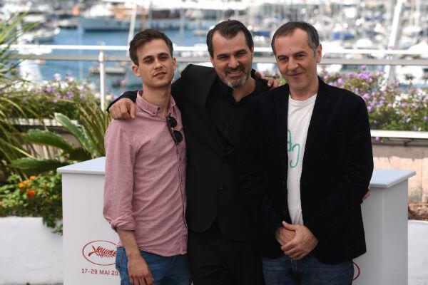 """Jupiter's Moon"" director Kornél Mundruczó (centre) with lead actors Zsombor Jéger (left) and Merab Ninidze."