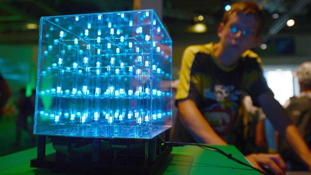 Un objet composé d'ampoules LED exposé en 2012 au salon de Ideen Park, à Essen en Allemagne