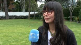 Sandra Ipuz, la estudiante colombiana ganadora de la primera edición del premio Julie Huynh, en Bogotá, el 27 de junio de 2018.