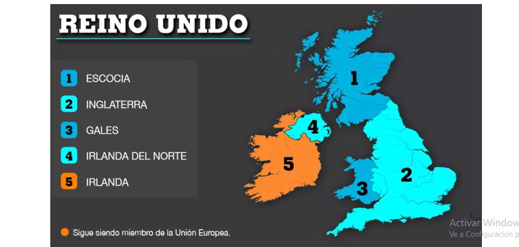 Mapa que muestra los territorios del Reino Unido y a la República de Irlanda.