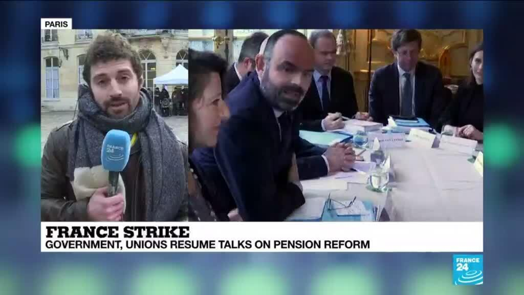 2020-01-10 15:45 French government and union leaders resume talks on pension reform