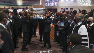 Pallbearers carry the casket following the funeral of George Floyd June 9, 2020, at The Fountain of Praise church in Houston
