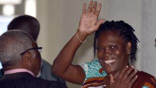 Simone Gbagbo lors de son arrivée, lundi 23 février, au palais de justice d'Abidjan-Plateau.