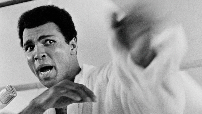 Le champion de boxe Mohammed Ali, le 27 octobre 1974, quelques jours avant son combat contre George Foreman à Kinshasa.