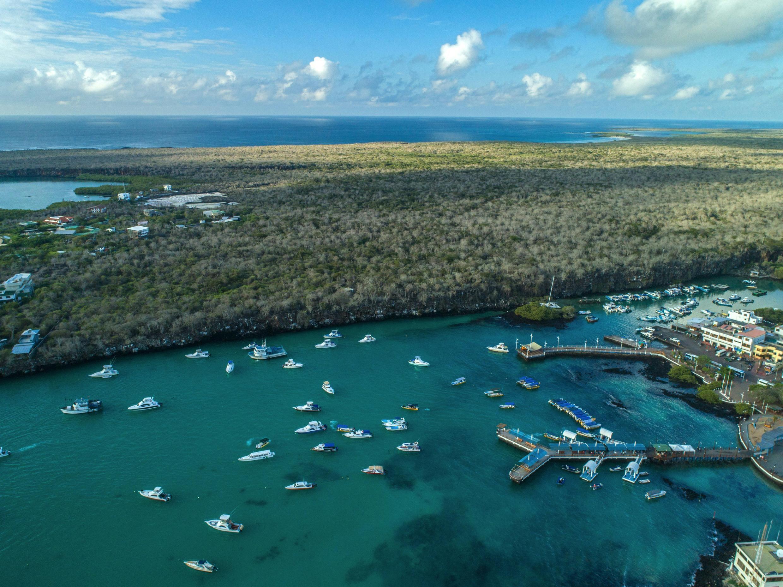 Foto del 21 de enero de 2018 de la bahía de Puerto Ayora en la isla Santa Cruz, Galapagos, Ecuador