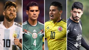 Lionel Messi (Argentina), Rafael Márquez (México), James Rodríguez (Colombia) y Luis Suárez (Uruguay).