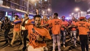 Hundreds of supporters of the opposition radical-left EFF party march in Durban on the eve of the election