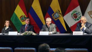 Representantes de la Comunidad Andina sostienen reunión ante la crisis migratoria en Venezuela. 29 de agosto de 2018.