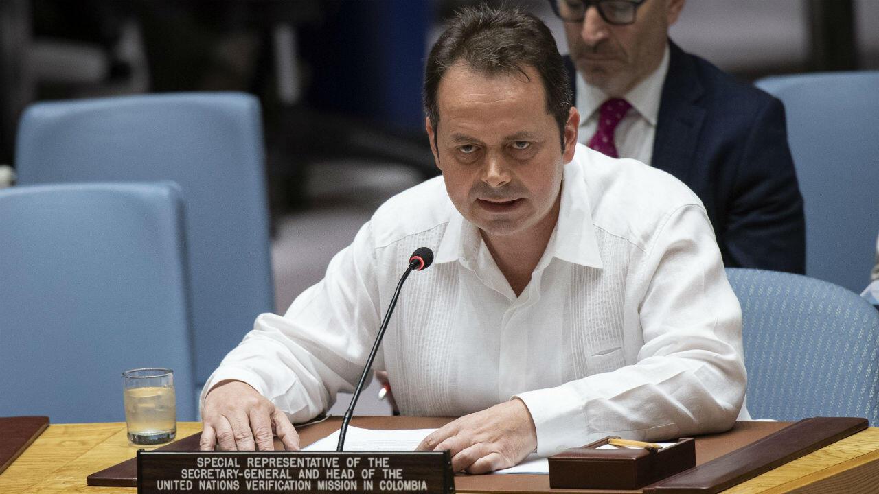 Fotografía cedida por la ONU en la que aparece su representante para Colombia, Carlos Ruiz Massieu, mientras habla durante una reunión del Consejo de Seguridad sobre la situación en Colombia, en la sede del organismo en Nueva York, el 19 de julio de 2019.