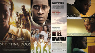 Imágenes de los carteles de las películas 'Shooting dogs', 'Hotel Rwanda' y 'Kinyarwanda', cuyas tramas se centran en el genocidio ruandés de 1994.
