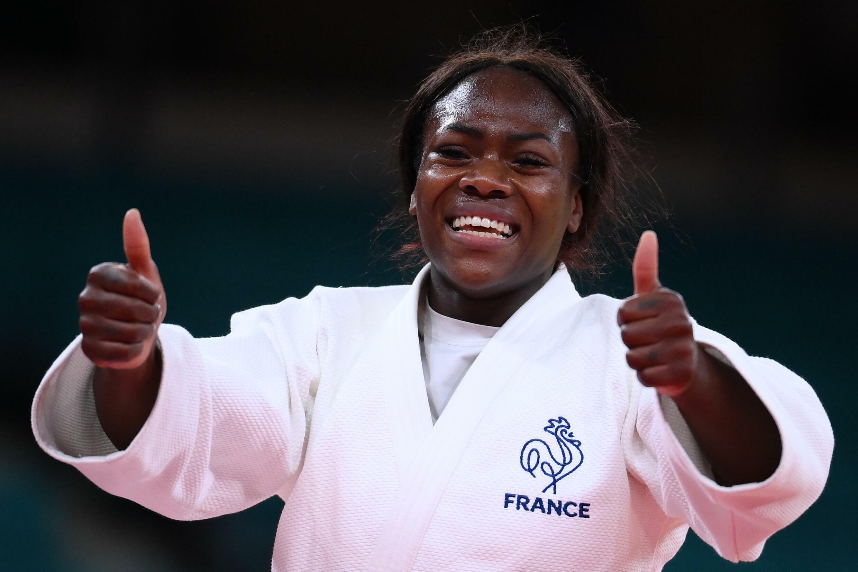 La joie de Clarisse Agbégnénou sacrée championne olympique en -63 kg aux Jeux de Tokyo, le 27 juillet 2021